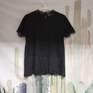 Black Lace Blouse Shirt